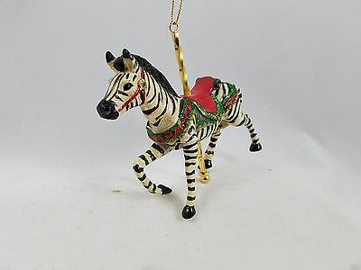 CAROUSEL HORSE Zebra Ornament with Glitter Accents NEW  Theme Kurt Adler