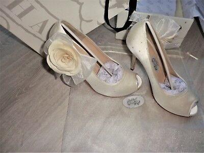 Brautschuhe Diane Hassall Luxus Peeptoes Gr. 39 Farbe Purest Ivory UVP € 299