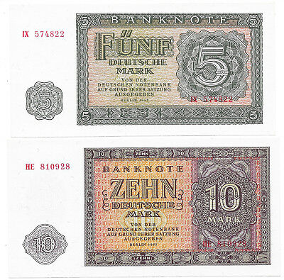 Deutsche Notenbank (DDR) - 5 + 10 Mark - 1955