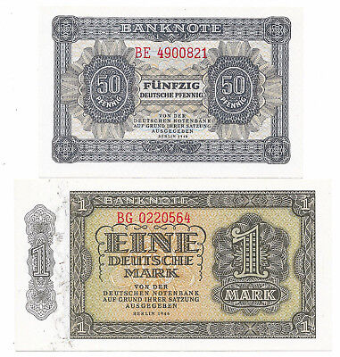 Deutsche Notenbank (DDR) - 50 Pfennig + 1 Mark - 1948