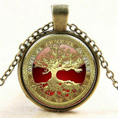 Tree Of Life Pendant w/18 inch Chain Bronze w/Silver & Red Highlights
