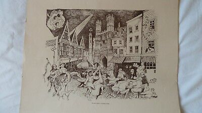 4 Pen and ink drawings/prints of Canterbury by Papas,unframed,42x35cm each