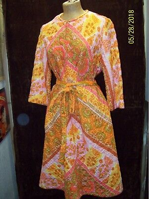 Vintage 1960's Orange Yellow Pink Nylon Quilted Robe Dress Evelyn Pearson M