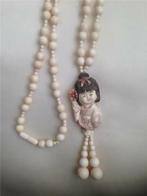 Lovely Rare Asian Chinese Netsuke Bead Necklace