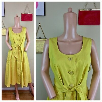Vtg 50s 60s Loungees NOS NWT Citron A Line Belted Twiggy Pin Up Dress M L