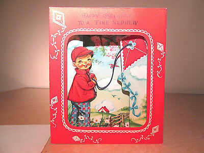 Vintage Gibson Happy Birthday Nephew Card Kite Pull Out NOS