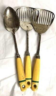 3 Piece VINTAGE EKCO A&J KITCHAMAJIG Yellow Green Painted Wood Handles