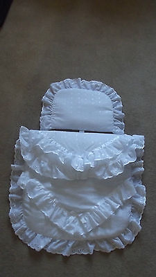 White Pram Quilt and Pillow set to fit Large Silver Cross Pram NEW