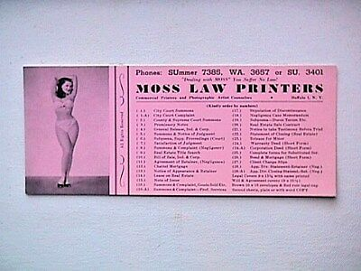 Pink Moss Law Printers Collectible Vintage Ink Blotter Bathing Beauty