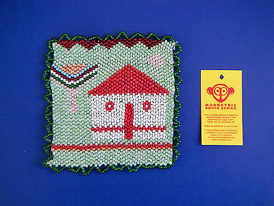 """African Beaded Coaster House & Tree by MONKEYBIZ Capetown S AfrIca 4 1/2 """" W New"""
