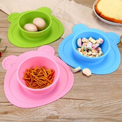 Kids Children Baby Plate Silicone Dishes Bowl With Suction Cup Feeding Food