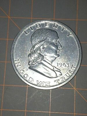 Large 3 Inch Novelty Medal/Coin/Coaster/Paperweight 1963 FRANKLIN HALF DOLLAR