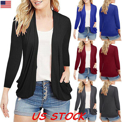 New Women Fashion Cardigan Long Sleeve Solid Open Front Sweater Outwear Tops USA