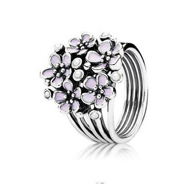 Women's Fashion Jewlry 925 Silver Plated White Pearl Pink Enamel Ring Size6-10
