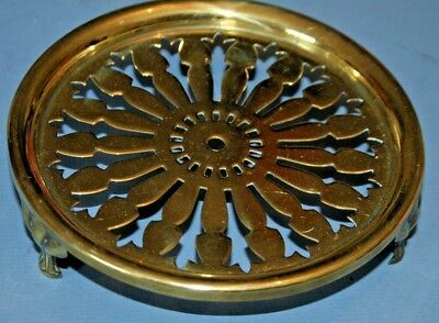 Antique Vintage Solid Brass Teapot/Kettle Stand Ornate Wheel  Kitchenalia Old