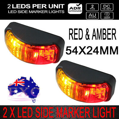 2X 2-LED Red Amber Side Marker Clearance Light 10-30V Lamp Truck Trailer Caravan