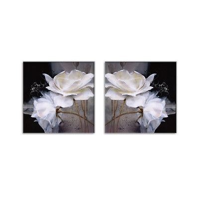 2Pc White Rose Flower Art Canvas Painting Print Wall Picture Home Decor Unframed