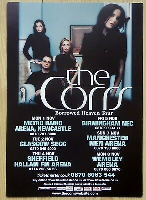 THE CORRS Borrowed Heaven TOUR FLYER 2004 UK  Poster A5 SIZE ANDREA CORR
