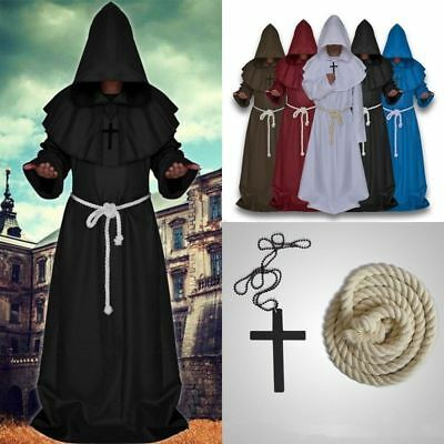 Halloween Cosplay Clothing Medieval Hooded Cowl Monk Robe Priest Costume Cloak