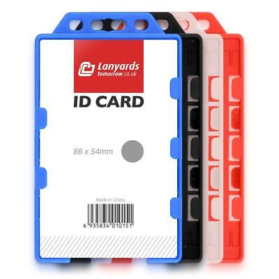 1x DOUBLE SIDED VERTICAL COLOUR Open Faced Plastic Rigid Badge ID Card Holder UK