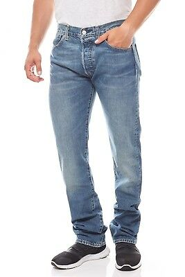 d6a4954cb67a Levis 501 Original Fit Herren Jeans Leder-Patch Hose Denim Blau Trend  Fashion