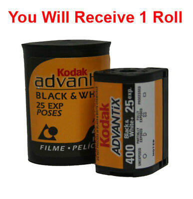 1 Roll Kodak Black & White APS B&W Film ISO 400-25 Exposures Advantix Nexia