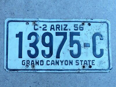 "1956 Arizona C-2 Commercial Truck Single Liicense Plate # 13975-C ""Grand Canyon"""