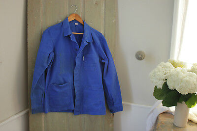 Vintage French blue workwear work clothes chore coat jacket timeworn prussian
