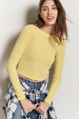 5693d5b420291 NWT FOREVER 21 Crewneck Solid Long Sleeve Stretch Knit Crop Top T Shirt  Blouse S