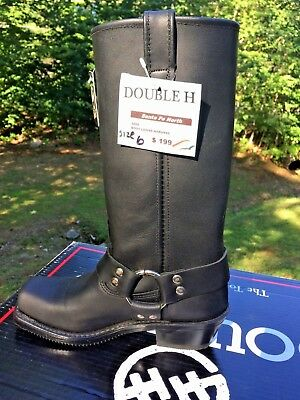 """NEW Double H Ladies sz 6 Black Leather Harness Motorcycle Western 13"""" Boots $200"""