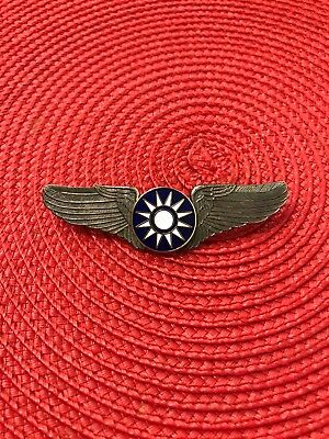CHINESE PILOT WING BADGE Silver Tone Blue Sky White Sun Party Emblem
