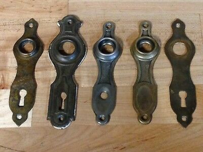 5 Antique Vintage Brass Art Deco Door Knob Lock Key Hole Plate Parts