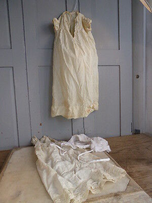 Two antique baby christening gowns + larger bonnet