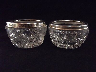 Pair Of Antique Silver Mounted Open Salts London 1927 Ref 213/4