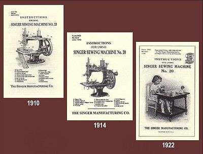 Singer 20 toy child sewhandy sewing machine INSTRUCTIONS 1910, 1914, 1922