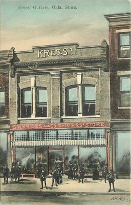 c1910 Guthrie Oklahoma Kress Store Street View Hand Colored Postcard