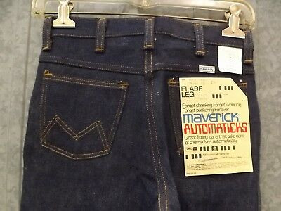 Vtg NEW Durable Maverick Western 100% Cotton Denim Jeans Flare Leg Boys 12 Reg
