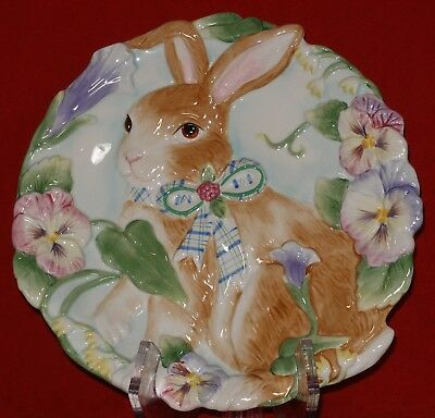 Fitz and Floyd HALCYON Plate Easter Bunny Rabbit Serving Dish Pansy Pansies NEW