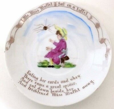 Antique Child's Hand Painted Transfer Plate Little Miss Muffet Made in Germany