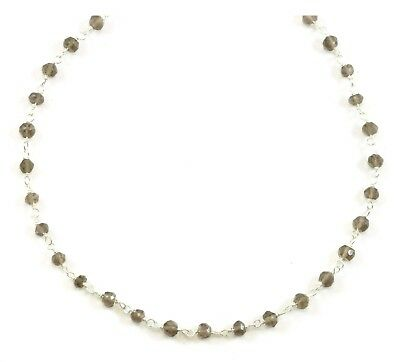 """Smoky Quartz Necklace Faceted Chain Sterling Silver 14k Gold GF 18 19"""" Dainty"""