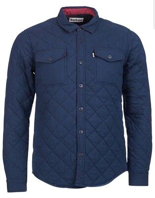 Barbour Men's Navy Blue Blyth Quilted Overshirt Jacket
