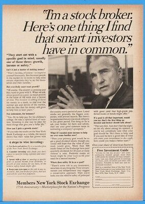 1967 New York Stock Exchange Broker Four Steps To Wise Investing Print Ad