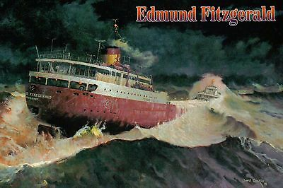 "Edmund Fitzgerald Painting "" Every Man Knew ""  - Gordon Lightfoot, Ship Postcard"