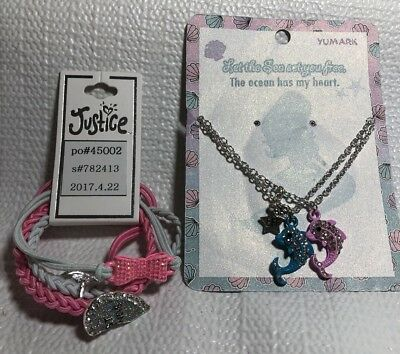 Justice Girl Jewelry Bracelets BFF Pink White  Glitter Heart Bow  Necklaces Fish