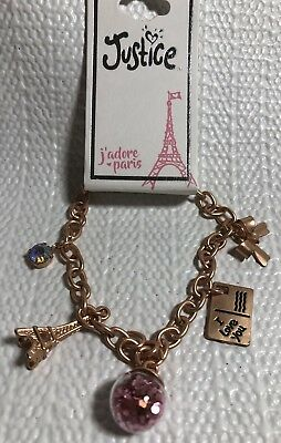 Justice Girls Costume Jewelry Bracelet Gold Tone Post Card Eiffel Tower Glitter