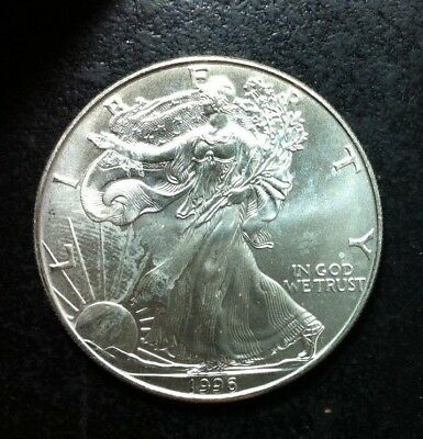 1996 American Silver Dollar Eagle ~ Gem Bu Contains 1 Troy Oz .999 Fine Silver
