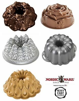 Nordicware Cast Aluminium Bundt Cake Tin Pan Rose Forest Crown Harvest