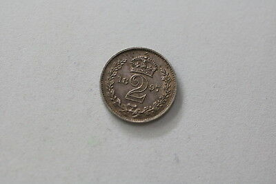 Uk Gb Maundy 2 Pence 1897 Silver Lovely Details A93 #rk7517