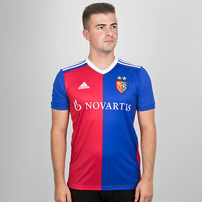 adidas Mens FC Basel 18/19 Home Short Sleeve Replica Football Shirt Red Top