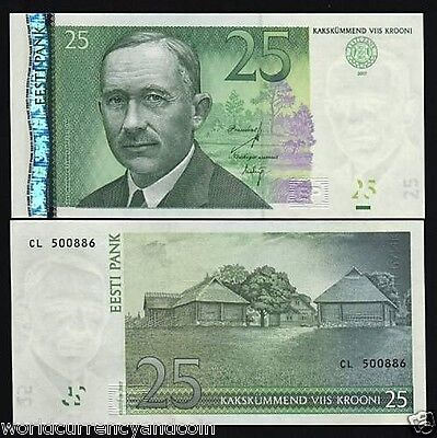 Estonia 25 Krooni P87B 2007 Euro Running # Pair Unc Money Log Construction Note
